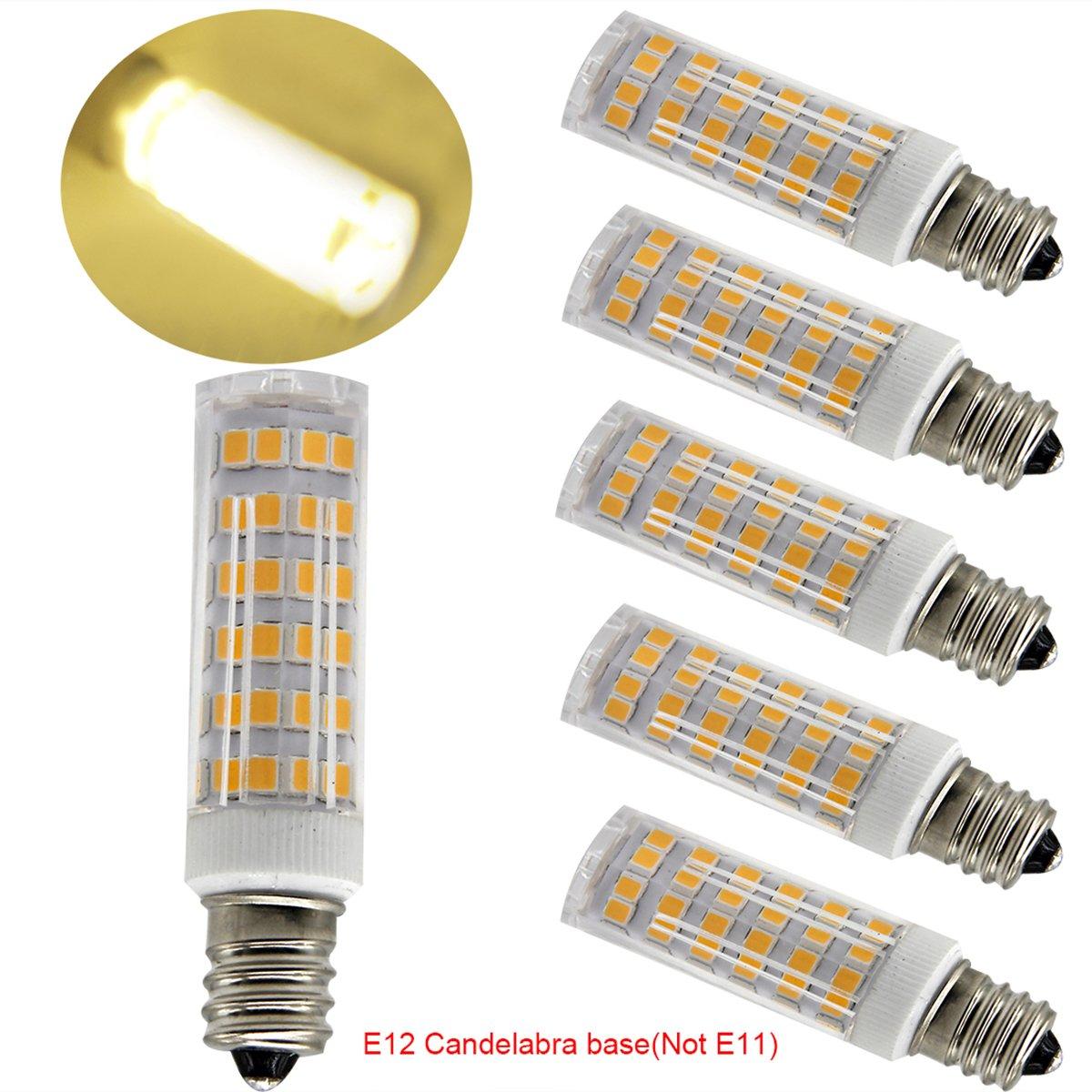 Ulight Led E12 led light bulb 120V, Warm White 6W Led E12 Candelabra Screw base, Xenon JD type led halogen bulb replacement 50W or 60W ceiling fan light bulbs with 550lm-5packs (Warm White 3000K)