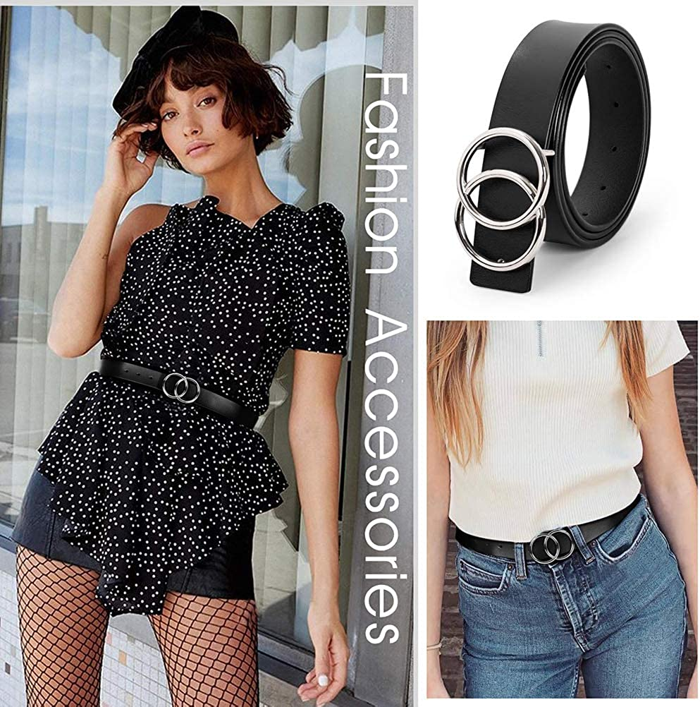 Parkomm ceinture en cuir pour jeans Ceinture en cuir pour femme avec boucle ronde