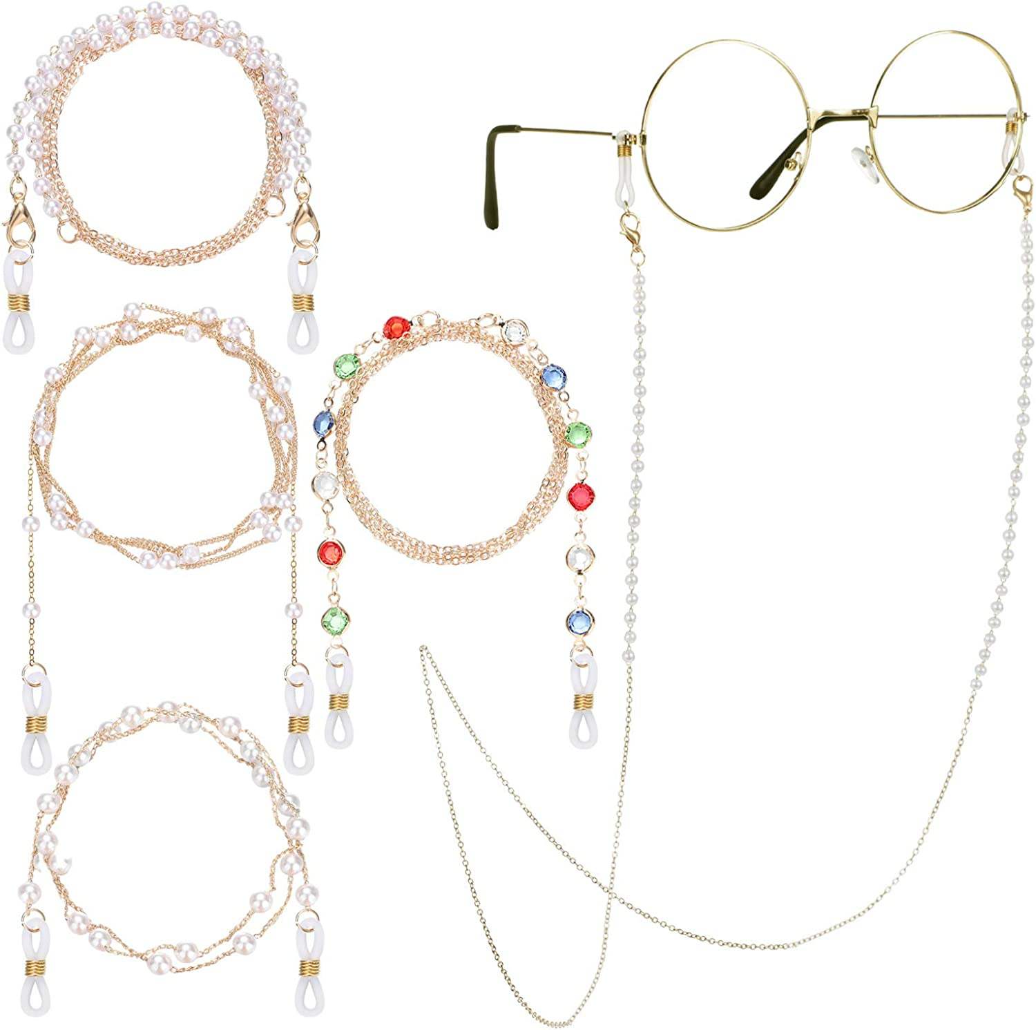 4 Pieces Eyeglass Chains Necklace Faux Pearl Beaded Eyewear Retainer Beaded Eyeglass Strap Holder Reading Eyeglass Holder for Women