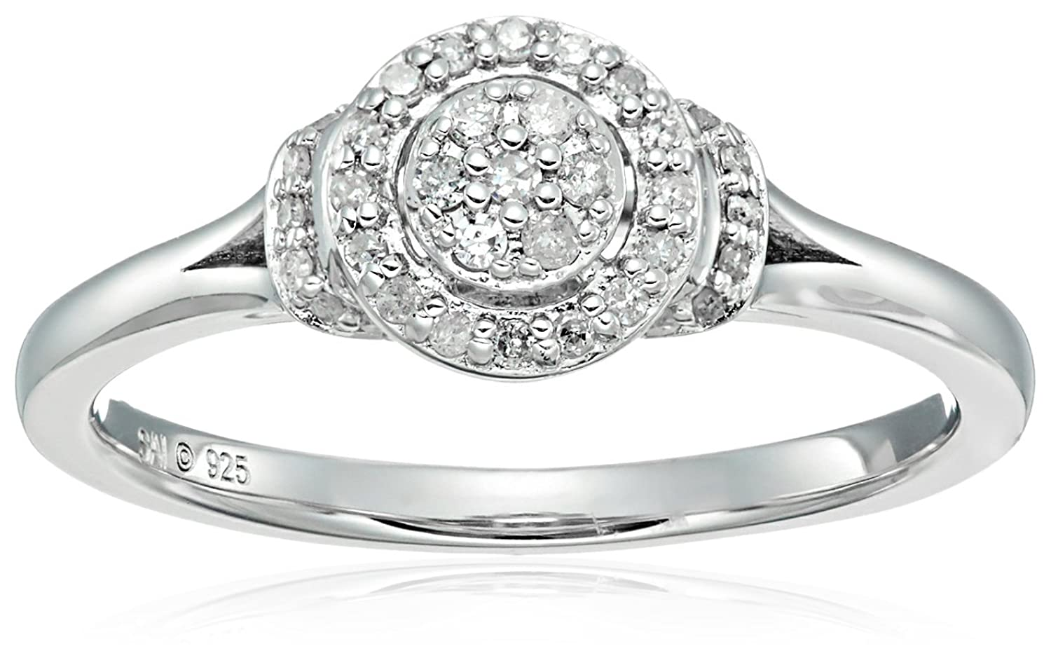 Sterling Silver Diamond Round Shape Engagement Ring (1/5cttw, I-J Color, I3 Clarity), Size 7