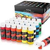 Acrylic Paint Set, Caliart 24 Vivid Colors (59ml, 2oz) Art Craft Paint Supplies for Canvas Wood Ceramic Rock Painting, Rich P