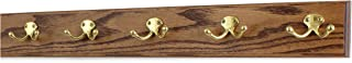"""product image for PegandRail Oak Coat Rack with Solid Brass Double Style Hooks (Chestnut, 25.5"""" x 3.5"""" with 5 Hooks)"""