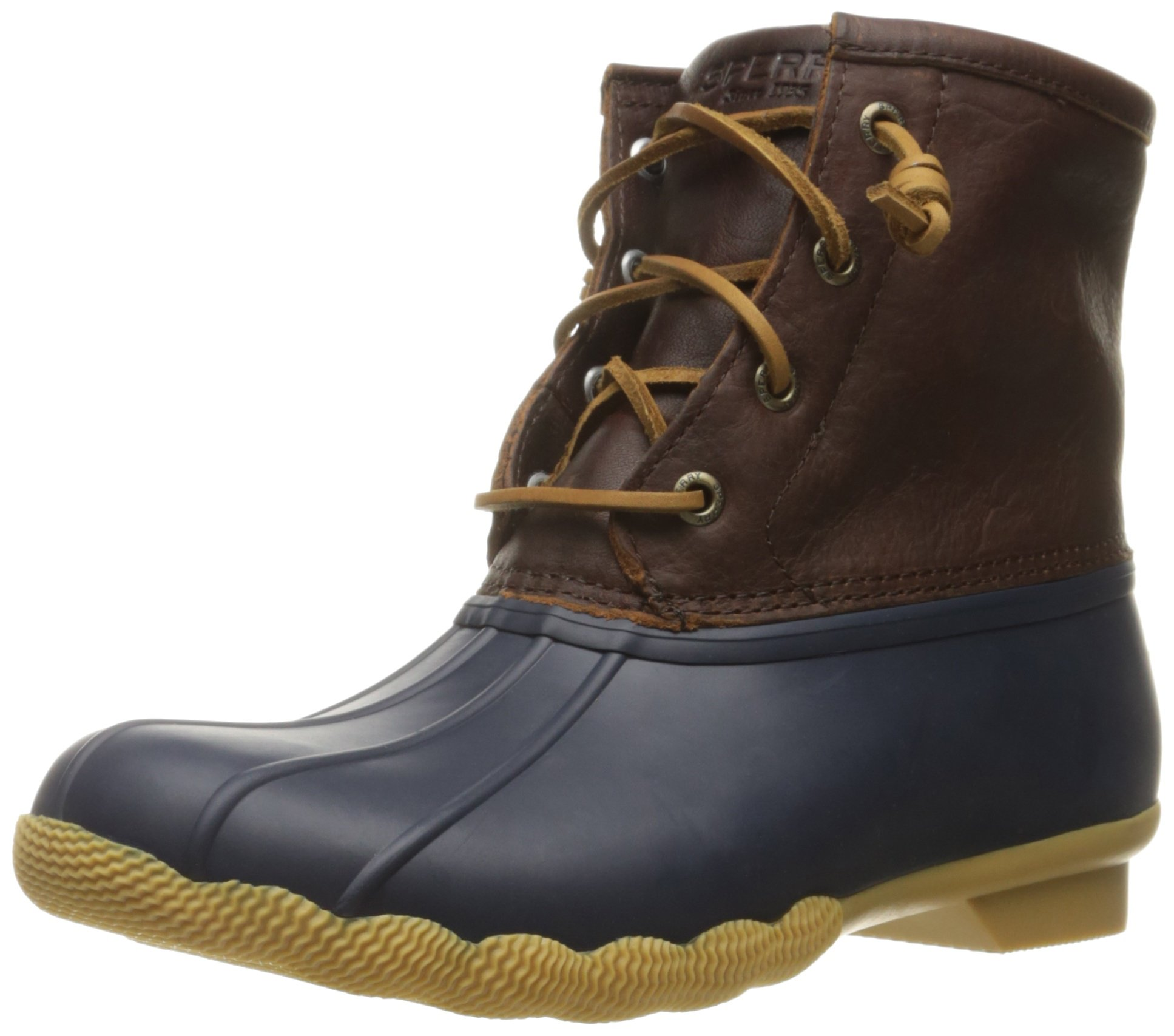 Sperry Top-Sider Women's Saltwater Thinsulate Rain Boot, Tan/Navy, 8 M US