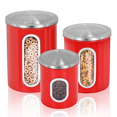Malmo Canisters Set, 3 Piece Window Kitchen Canister with Fingerprint  Resistance Lids,Red