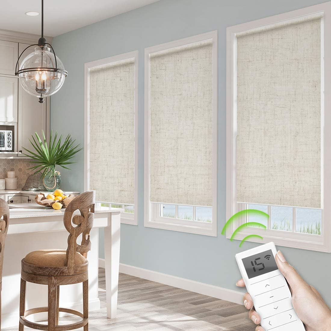 Yoolax Motorized Window Shades Cordless 60 Light Shading Roller Blinds Remote Control Wireless Rechargeable Blind for Home Office Restaurant Kitchen Living Room Customized Size Linen Beige