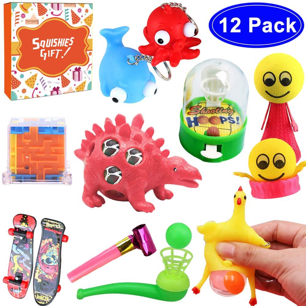 Children's Party Favors Bulk Fidget Toys Sets for Adults Goodie Bags 12PCS Carnival Prizes for Kids Birthday School Classroom Rewards Treasure Box Decompression Pinata Filler Prizes Grape Ball Etc