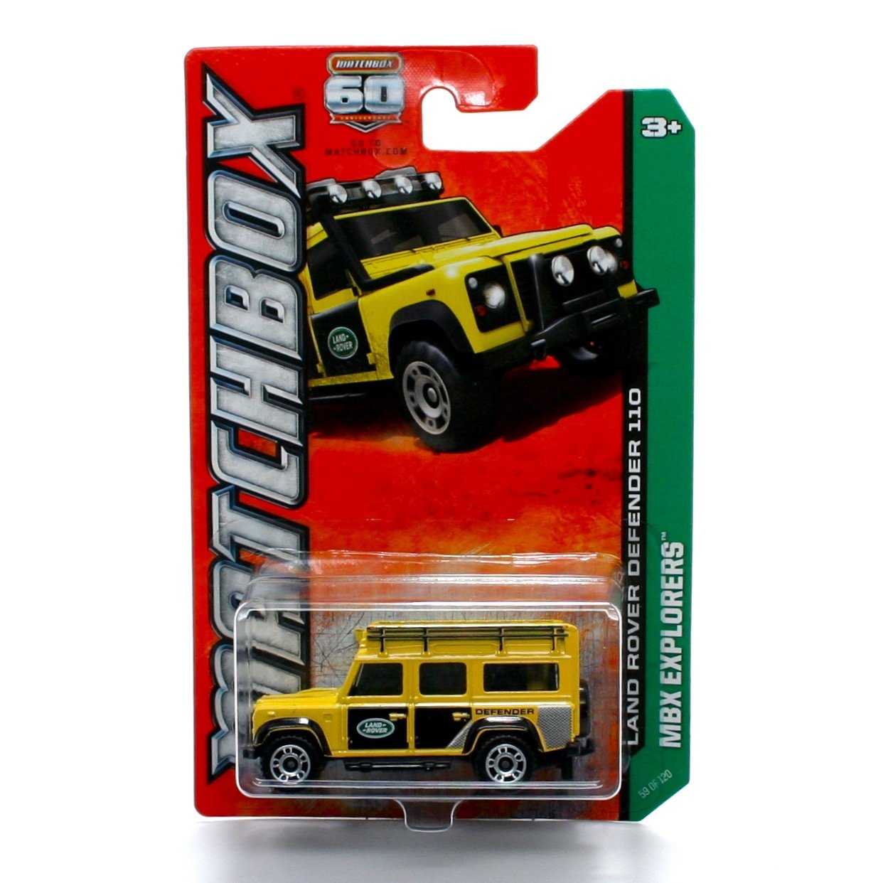 Matchbox Land Rover Defender 110 (Yellow) MBX Explorers 60th Anniversary 2013 Basic Die-Cast Vehicle (#59 of 120)