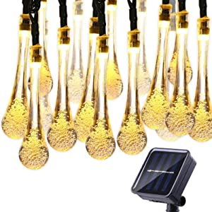 Solar String Lights,22.9 Feet 50 LED Advanced Water Drop Solar Fairy String Lights Outdoor Waterproof, 8 Modes Solar Lights for Patio, Lawn, Home, Garden, Wedding, Party Decorations (Warm White)