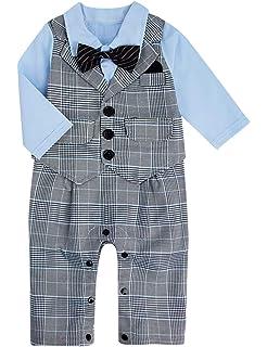 Size 3-18 Months Plaid Shirt Suspenders Denim Jeans with Bowtie A/&J DESIGN Baby Boy Gentleman Romper