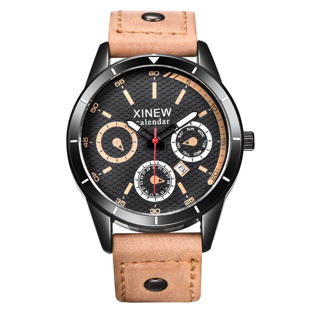 Amazon.com: Mens Quartz Watches COOKI Clearance Unique Analog Cheap Watches on Sale Leather Wrist Watches for Men-A34 (Red): Watches