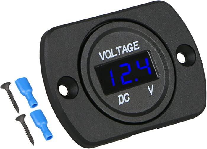 Linkstyle DC 12V 24V Car Voltmeter with LED Digital Display Panel, Waterproof Voltage Gauge Meter with Terminals for Boat Marine Vehicle Motorcycle Truck ATV UTV Car with Blue Light