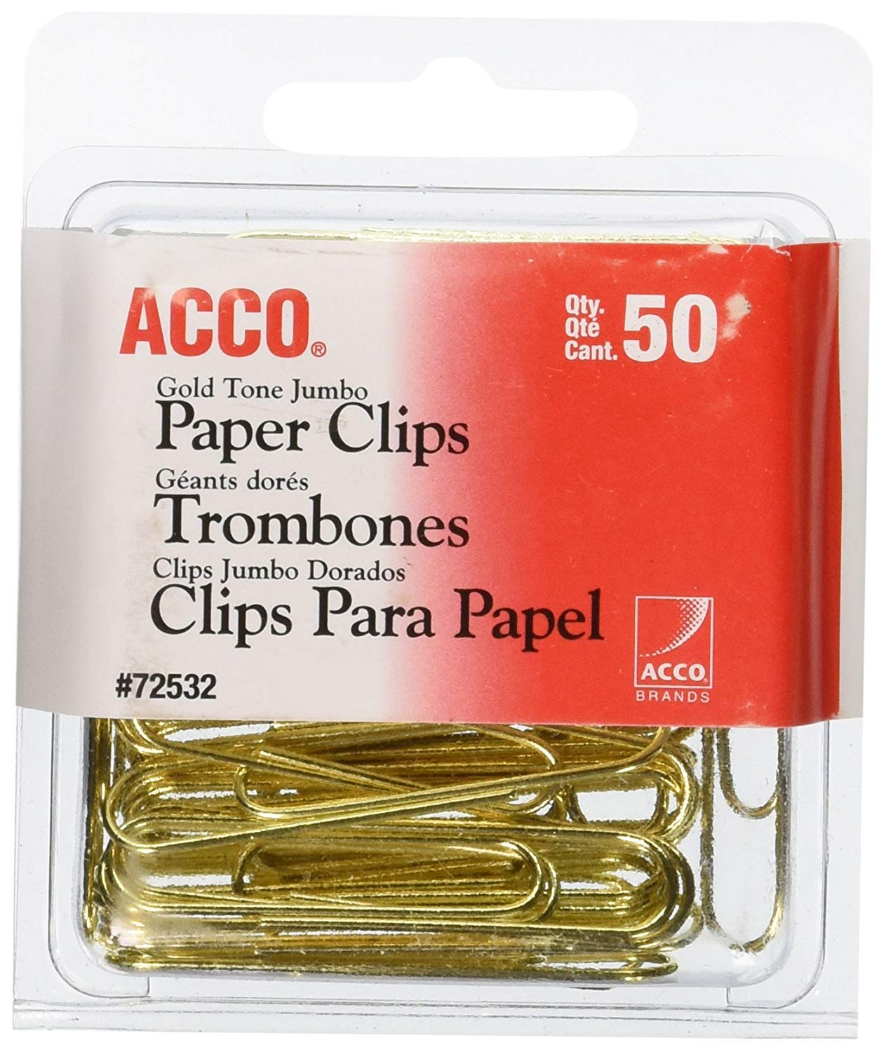 ACCO Paper Clips, Jumbo, Smooth, Gold, 50 Clips/Box, 24 Boxes per Pack (1100 Clips Total) by ACCO