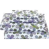 Elegant Home 多色紫色白色绿色薰衣草花卉设计 4 件套印花全尺寸床单套装带枕套床单适合女孩/儿童/青少年 # 薰衣草花 Twin Size 43398-58472