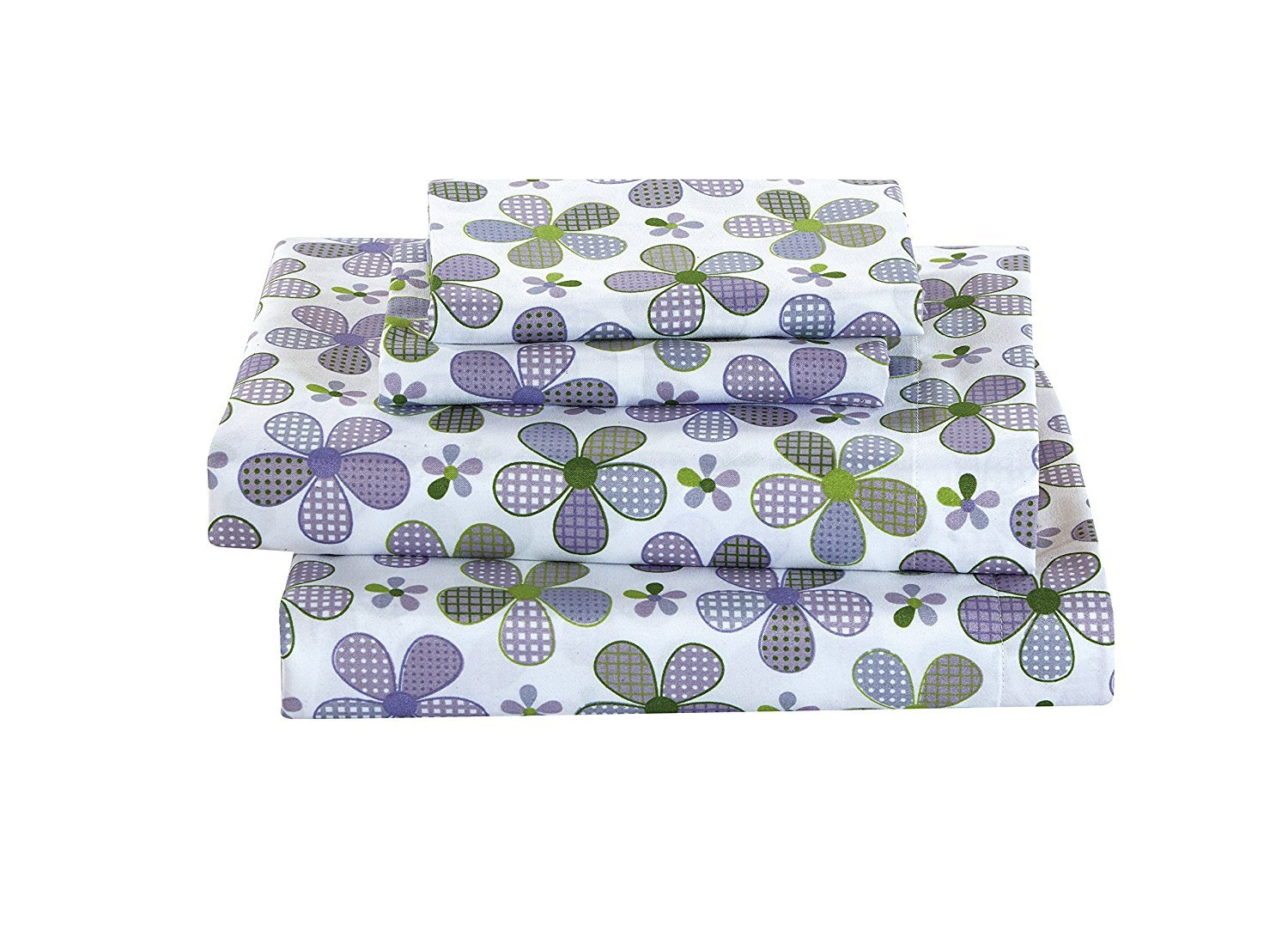 Elegant Home Multicolors Purple White Green Lavender Flowers Floral Design 4 Piece Printed Full Size Sheet Set with Pillowcases Flat Fitted Sheet for Girls//Kids//Teens # Lavender Flower Full Size