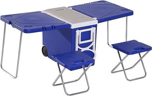 Nevera portátil con ruedas de 28 l, multifunción, mesa de picnic + ...