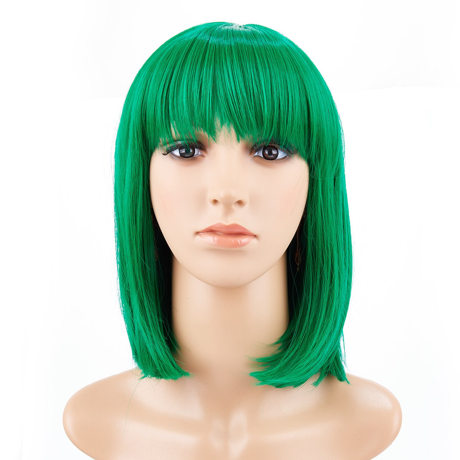 BeliHair 14'' Green Short Straight Bob Wigs with Bangs for Women Girls Synthetic Costume Hair Wig for Cosplay party(Like Hero Polaris in The Gifted)+Free Wig Cap