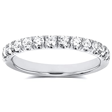 Kobelli Flame French Pave Lab Grown Diamond Comfort Fit Womens Wedding Band 1 2 Ctw 14k White Gold Def Vs
