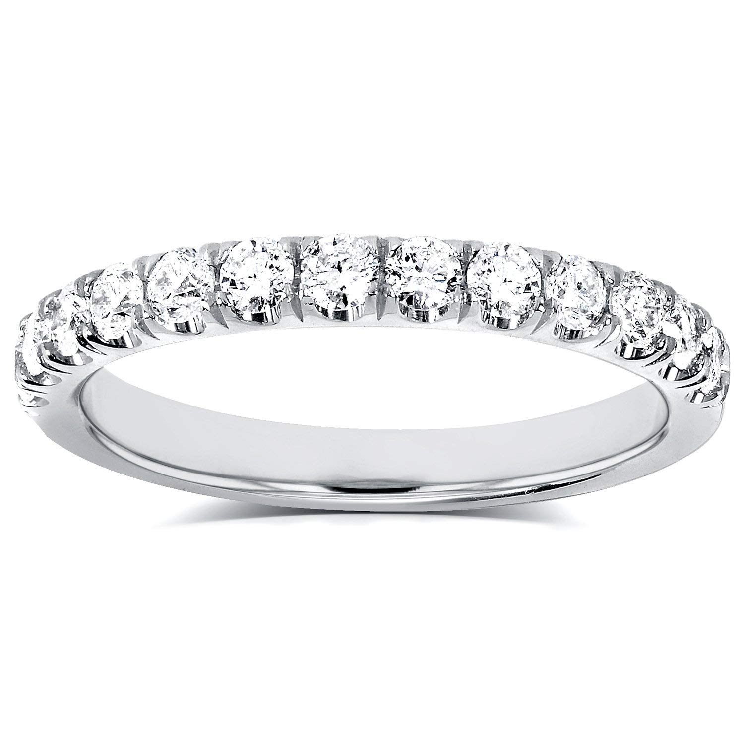 Diamond Comfort Fit Flame French Pave Band 1/2 carat (ctw) in 14K White Gold, Size 8