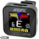 AROMA Rechargeable Clip On Tuner Guitar Bass Ukulele Violin Mandolin Banjo and Nearly Any Acoustic or Electric Stringed Instrument Chromatic Tuning AT103