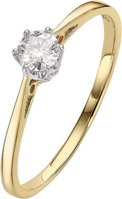 Premium 1/6 carat Diamond solitaire bague de fiançailles or jaune