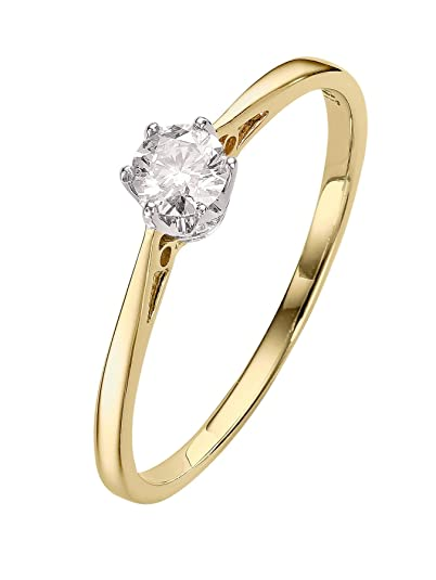 Yellow Gold Diamond Engagement Ring With 1 4ct Solitaire Diamond