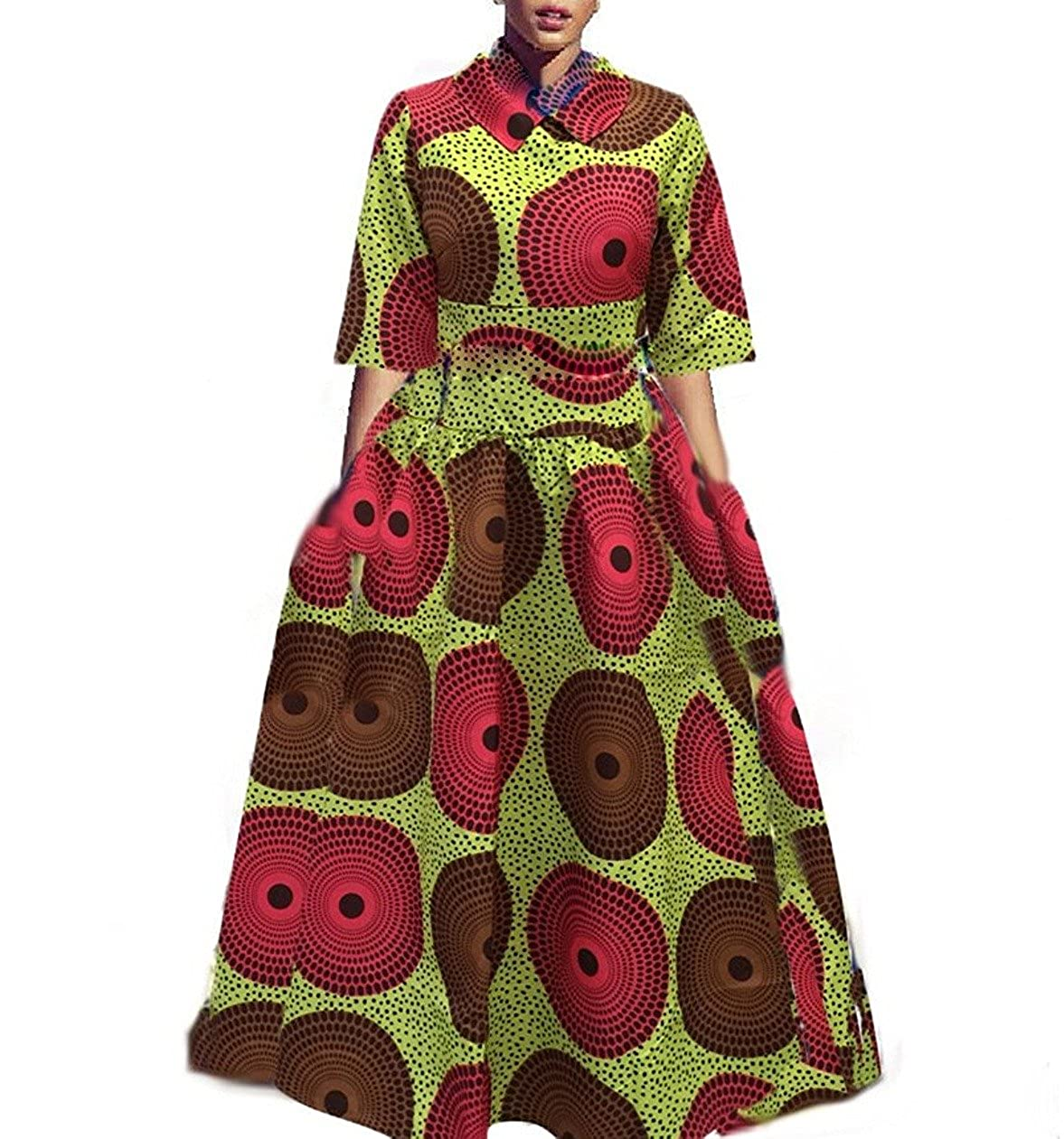 Sherrylily Women Plus Size 3/4 Sleeve African Graphic Printed Maxi Dress  Lapel Collar High Waist A-line Dress