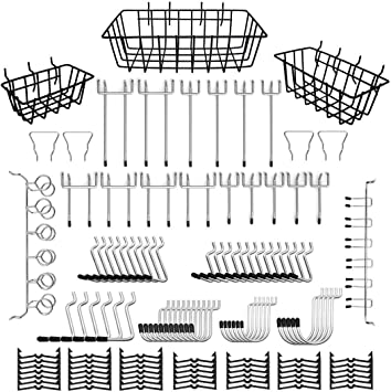 Pegboard Bins for Hanging Tools Garage 16 Types Peg board Accessories with Peg Lock Pegboard Hooks Accessories Assortment Workbench 103 Pcs Kitchen 1//4 Inch Heavy Duty Pegboard Organizer