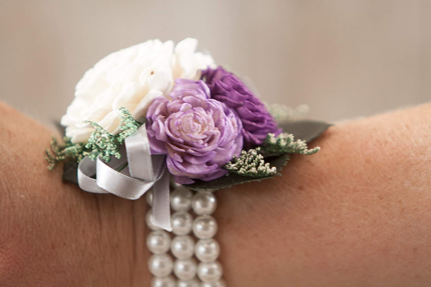 Purple and Ivory Keepsake Corsage for Women