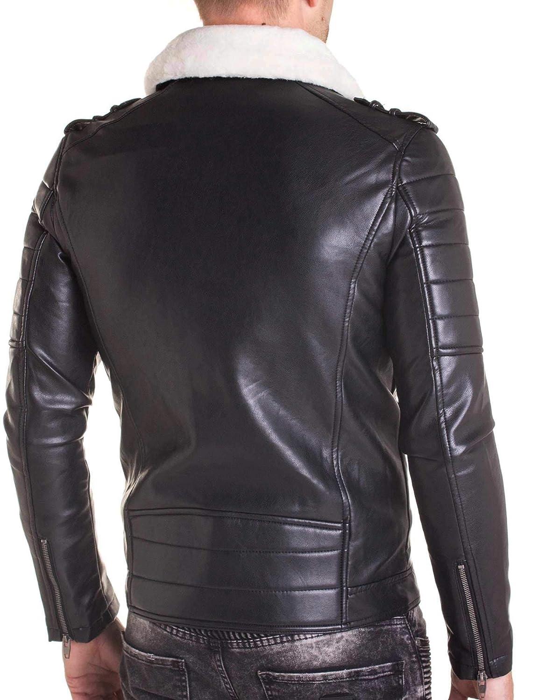 Uniplay Perfecto simili cuir noir avec fourrure créme pour