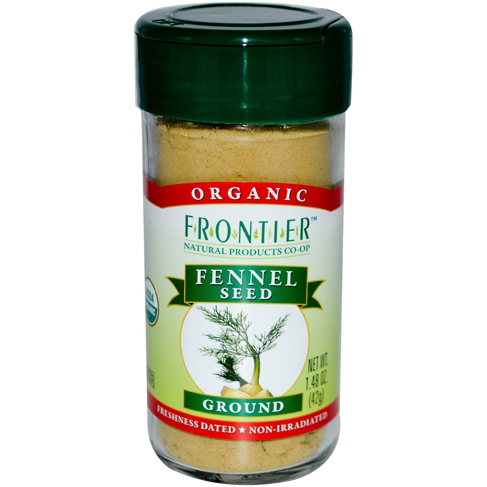 Frontier Natural Products, Organic Fennel Seed, Ground, 1.48 oz (42 g) - 2pcs