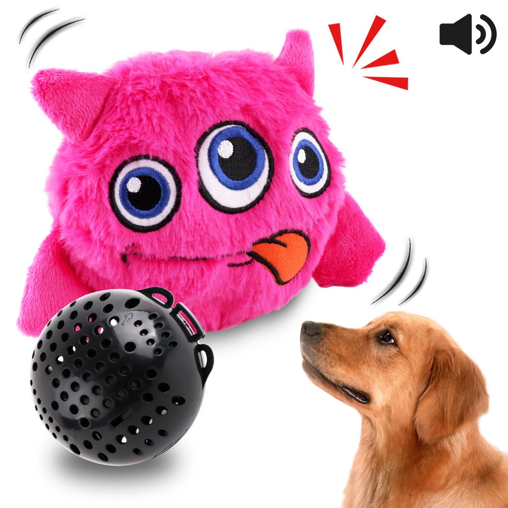 Dog Toys Interactive Plush Squeak Giggle Ball Automatic Shake Crazy Bouncer Toys for Puppy Motorized Exercise Electronic Toy Entertainment for Pets Pink