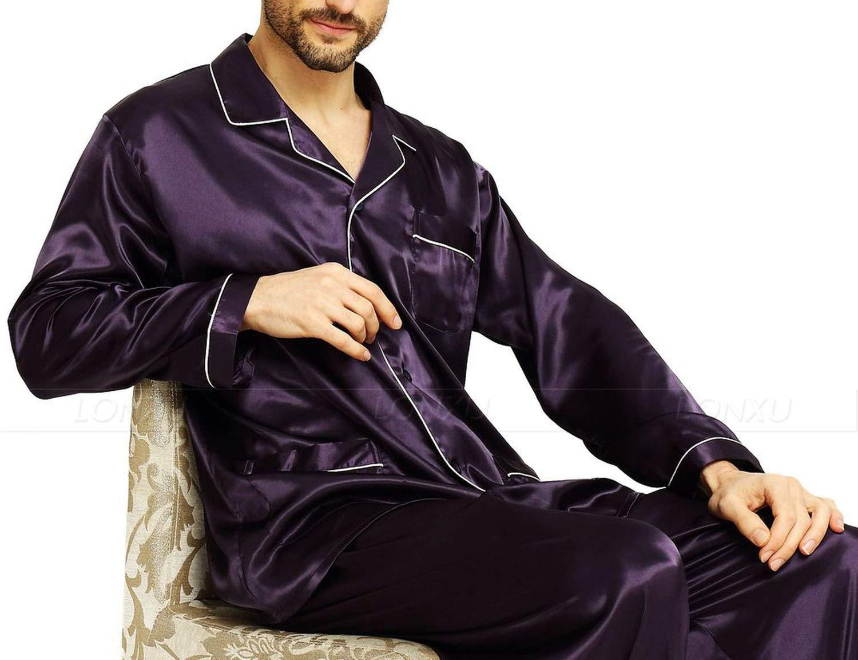 Mens Silk Satin Pajamas Set Pajama Pyjamas Set Sleepwear Loungewear,Purple,XL