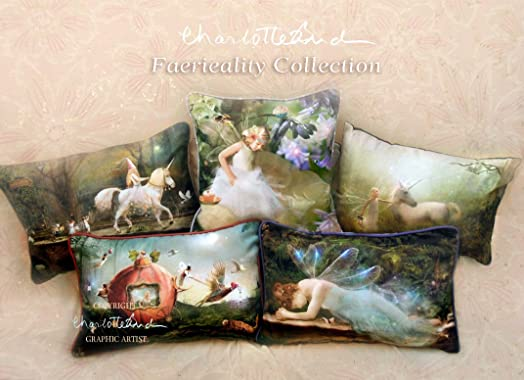 Set of Five fairy Cushion covers Velveteen finish by Charlotte