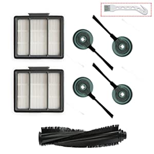 1 Main Brush & 2 Pack Hepa Filter & 4 Side Brushes Replacement for Shark ION Robot S87 R85 RV850 Vacuum Cleaner