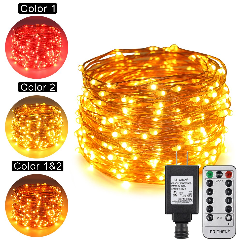 ErChen Dual-Color LED String Lights, 100 FT 300 LEDs Plug in Copper Wire Color Changing 8 Modes Dimmable Fairy Lights Remote Timer Indoor Outdoor Christmas (Red/Warm White)