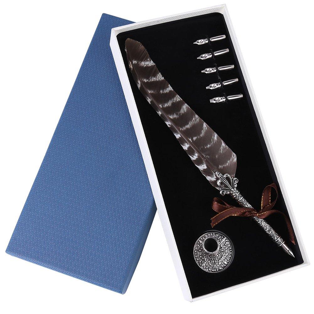 Penna antica con penna calligrafica, Penna a immersione con penna e 5 pennini extra, regalo di Natale(#2) Hilitand