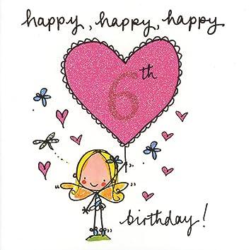 Mädchen 6 Geburtstag Karte Mit Glitzer Juicy Lucy Designs Amazon