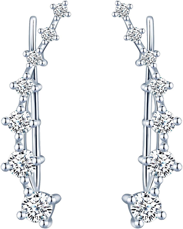 Infinito U -Pendientes Trepadores Mujer de Plata de 925 Esterlina, Pendientes de Clip de Cristal/Diamante de Imitación