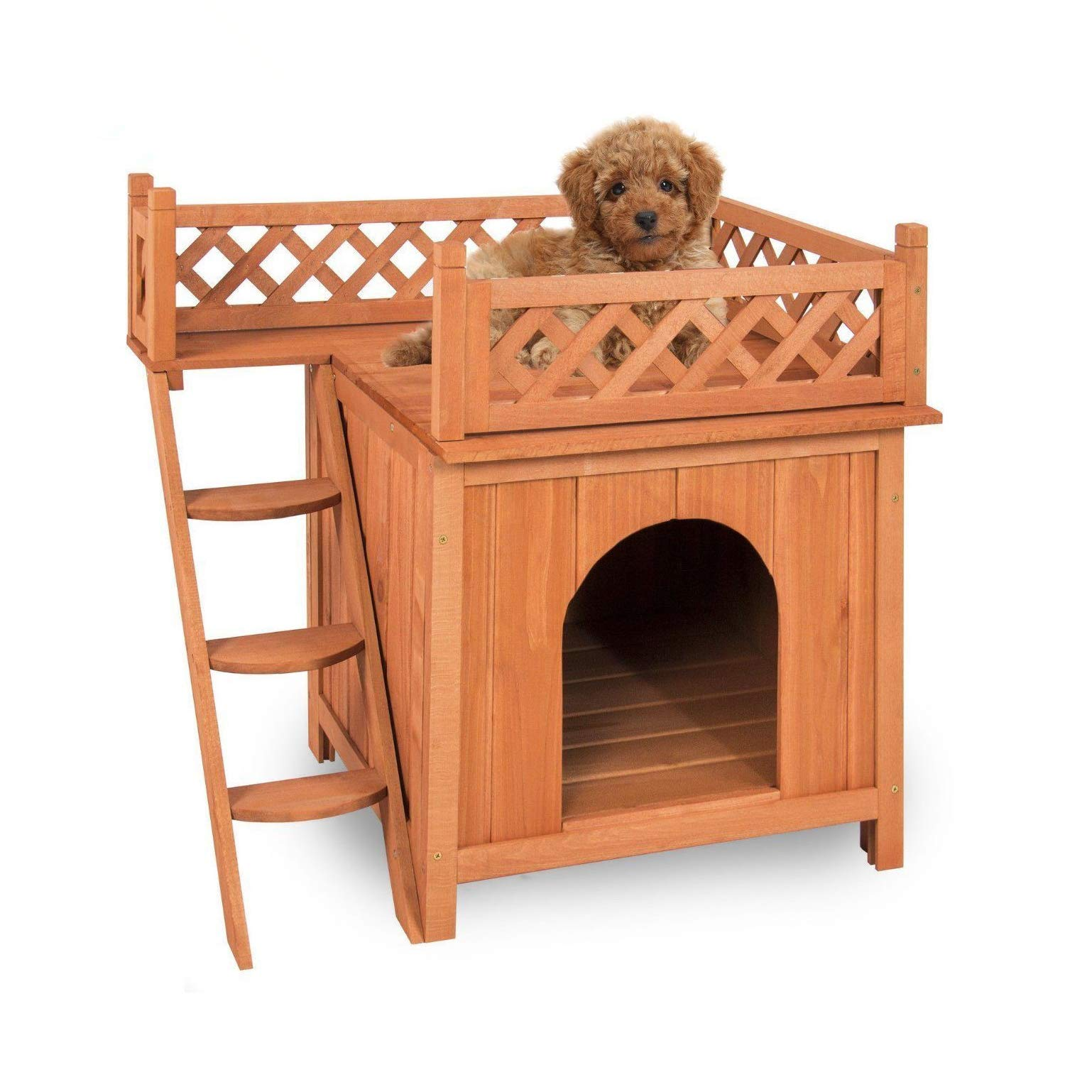 Merax Indoor/Outdoor Pet Dog Wood House with Side Steps and Balcony, Natural Color
