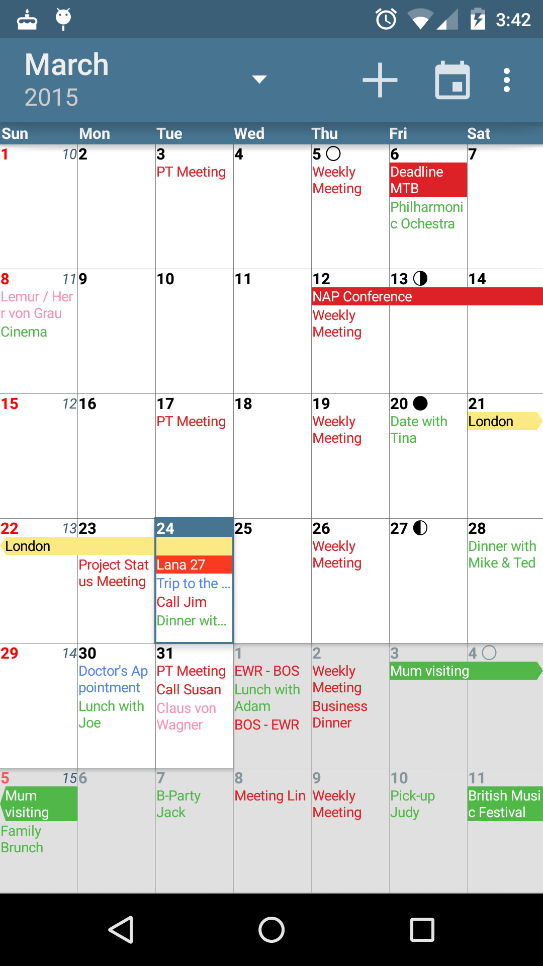 Weekly Calendar Android : Amazon acalendar android calendar appstore for