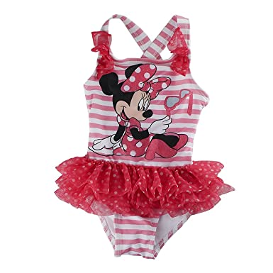 9f317336ad Disney Store Girls Minnie Mouse Pink Stripe w/Tutu One-Piece Swimsuit -  Pink -: Amazon.co.uk: Clothing