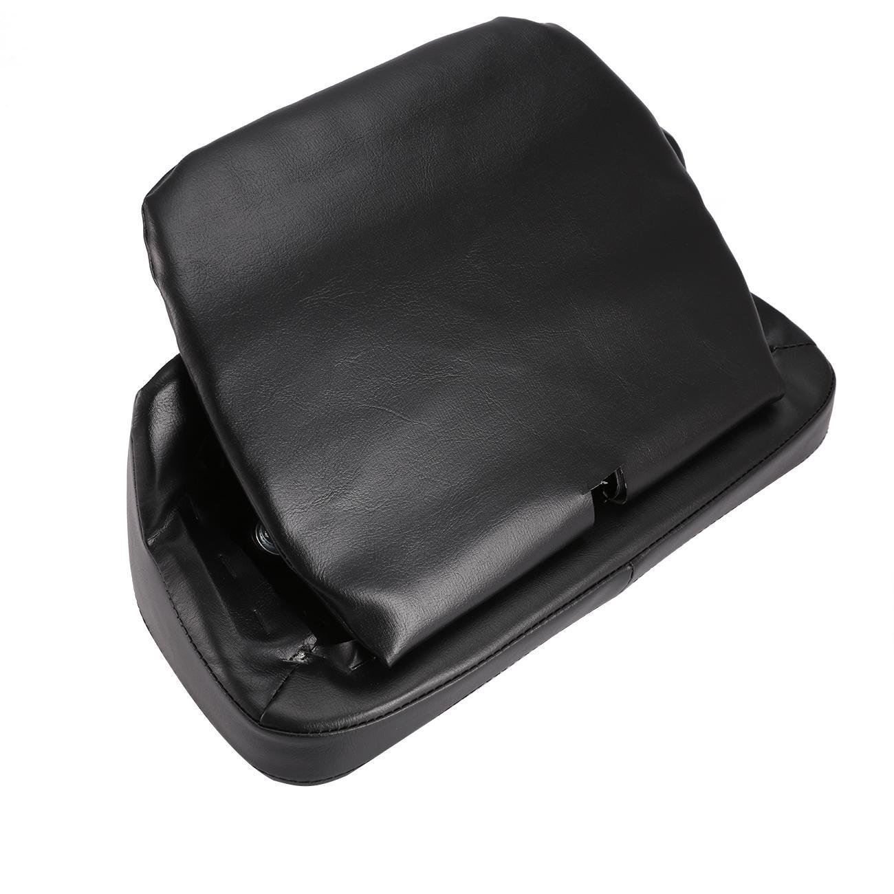 INNOGLOW 1 x Motorcycle Vivid//Glossy Black PU Leather Chopped Smooth Rear Seat Backrest Pad Pillow Tour Pack Cushion For Harley-Davidson Chopped /& Razor Luggage