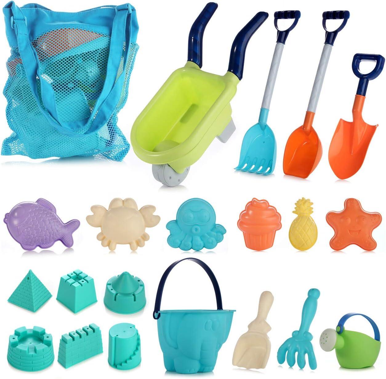 Strandspielzeug f/ür Kleinkinder Strand Spielzeug f/ür Kinder Kleinkinder im Freien Sandburg Strandspielzeug Sets mit Auto Eimer Schlossformen und Netzbeutel aus weichem Kunststoff 13-teiliges Set