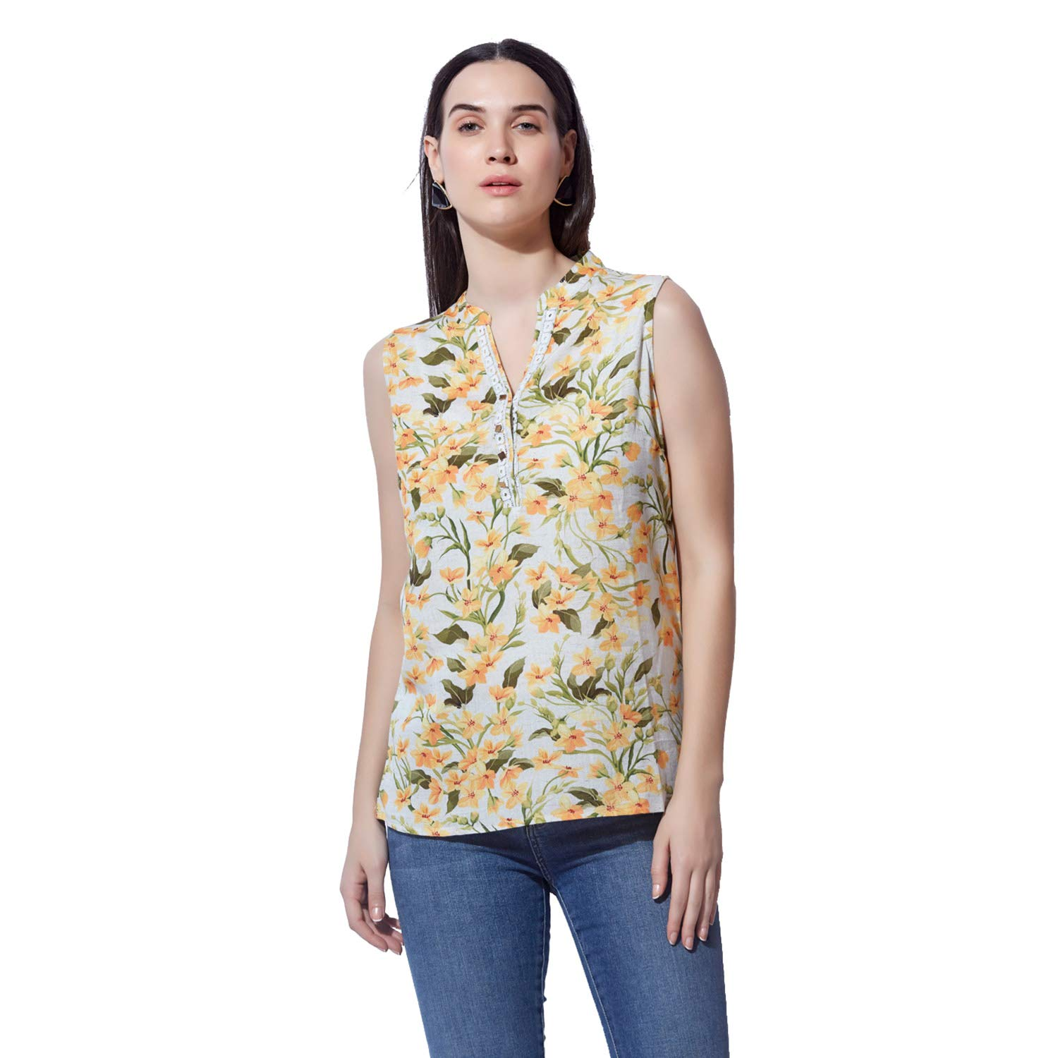 89ee37ecf349 BKind Women's Floral Print Cotton Off White Tunic: Amazon.in: Clothing &  Accessories