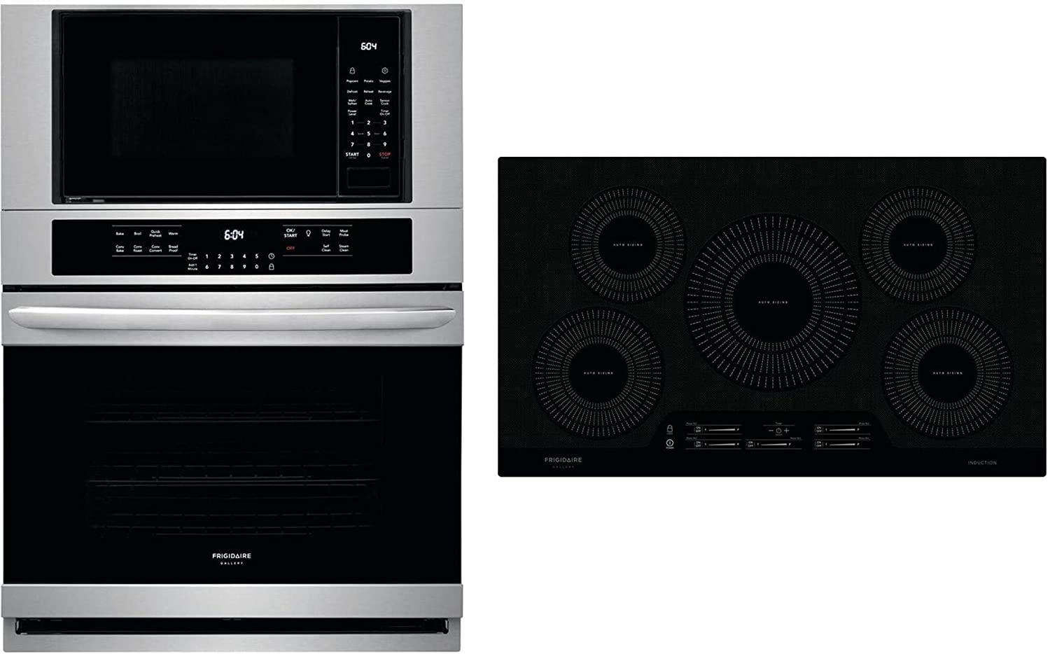 "Frigidaire 2 Piece Kitchen Appliances Package with FGMC3066UF 30"" Electric Double Wall Oven/Microwave Combo and FGIC3666TB 36"" Electric Induction Cooktop in Stainless Steel"
