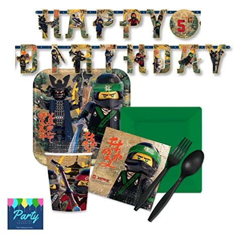 Lego Ninjago Party Supply Pack for 16 Guests - Plates Napkins Cups Plasticware  sc 1 st  Amazon.com & Amazon.com: Lego Ninjago Party Supply Pack for 16 Guests - Plates ...