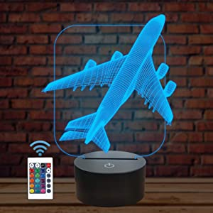 Aircraft Airplane 3D Night Light Kids Bedside Lamp 16 Colors Changing with Remote Control Xmas Halloween Birthday Gift for Child Baby Boy