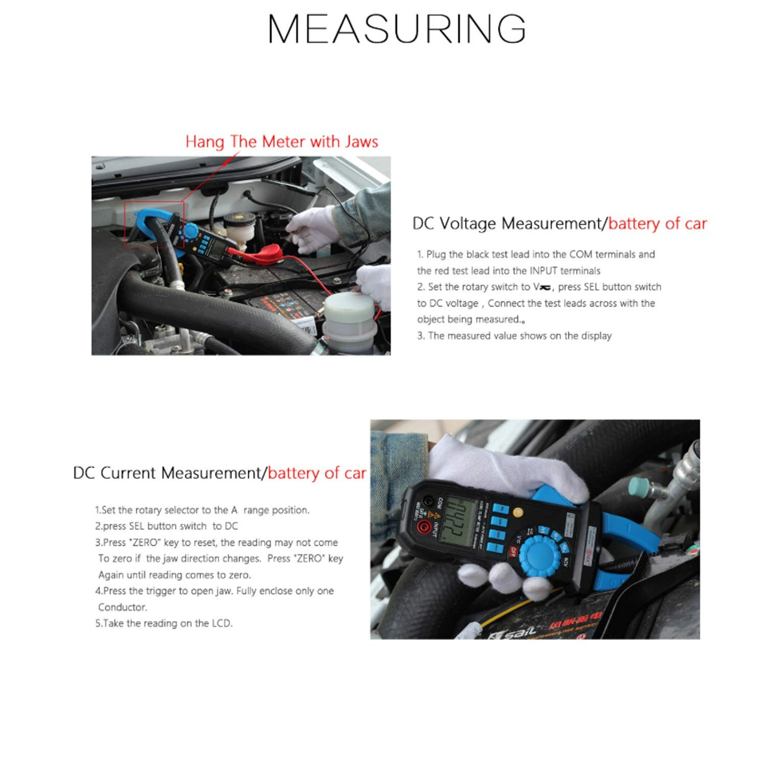 Amazon.com: ZJP-dzsw Auto Range Clamp Meter ACM03Plus Car Voltmeter Ammeter Digital Multimeter with Backlight Resistance Continuity NCV Test: Electronics