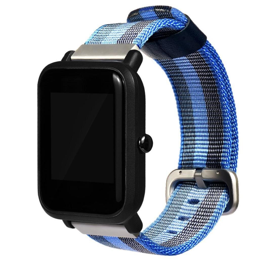 スマート時計バンド、スポーツ腕時計ナイロン交換用ストラップブレスレットfor Xiaomi huami Amazfit Bip Youth Watch  ブルー B078T97J1N