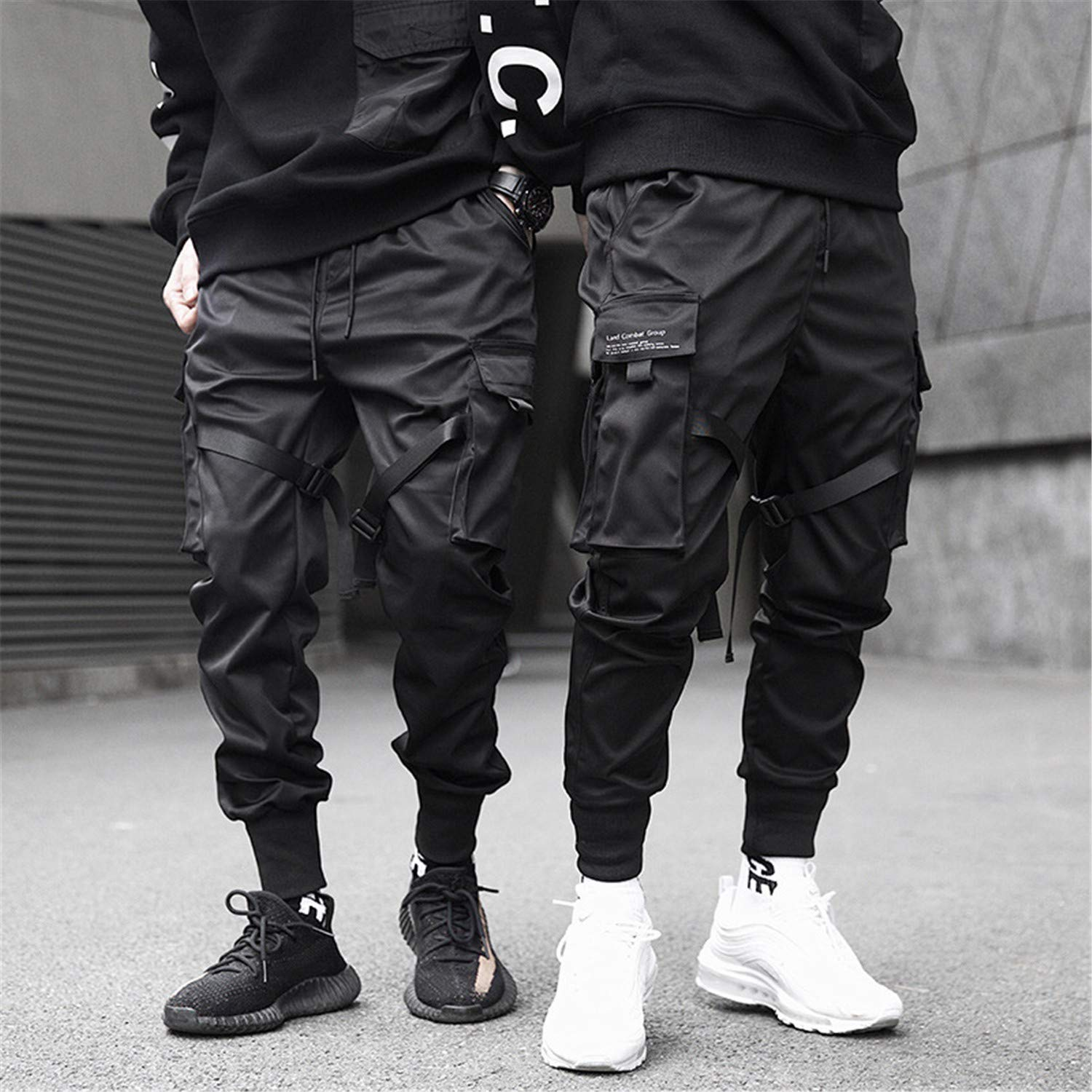 MERRYDAY Men Multi-Pocket Elastic Waist Harem Pant Punk Hip Hop Trousers Joggers
